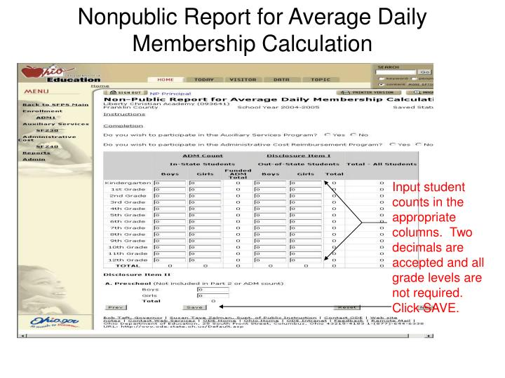 Nonpublic Report for Average Daily Membership Calculation