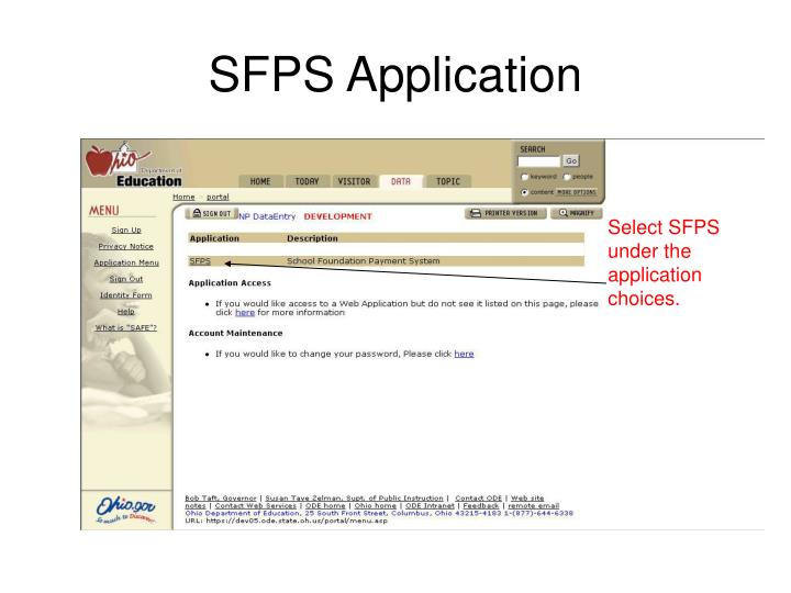 SFPS Application
