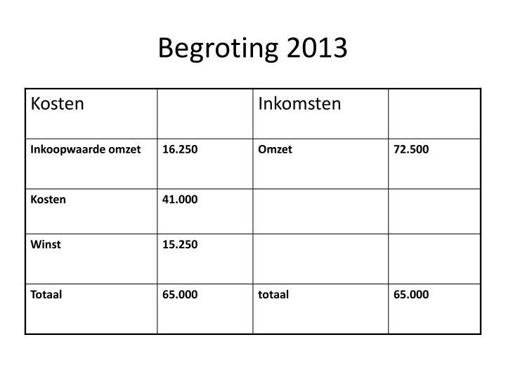 Begroting 2013