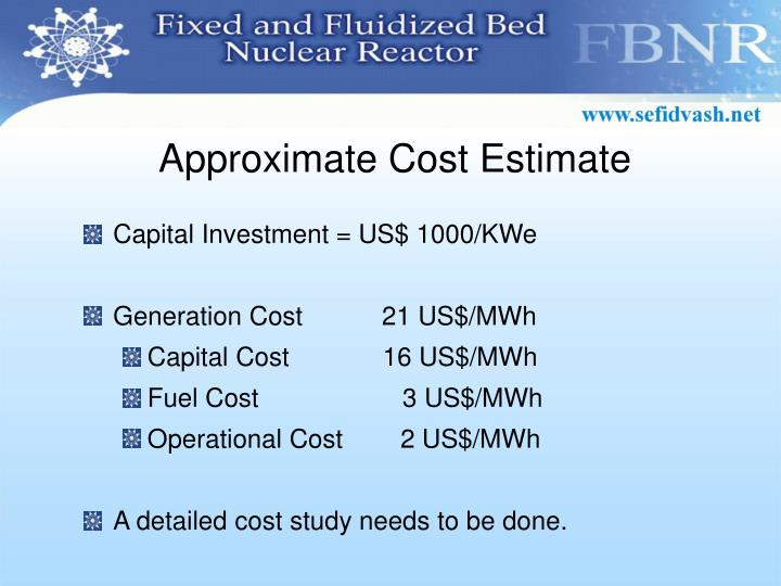 Approximate Cost Estimate