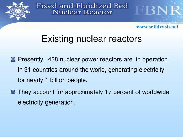 Existing nuclear reactors