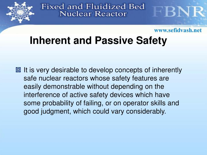 Inherent and Passive Safety