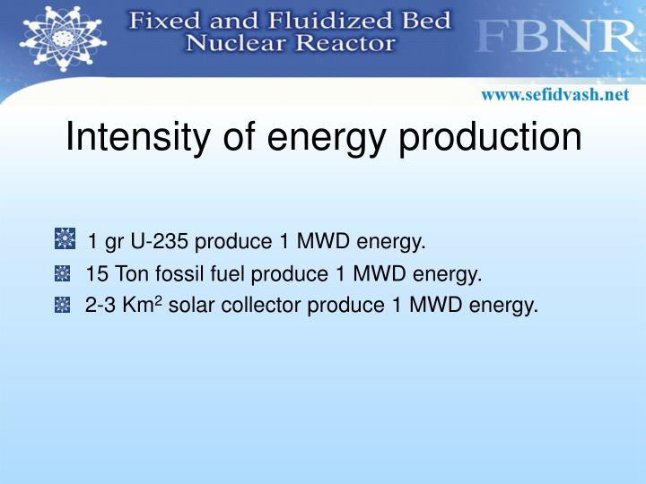 Intensity of energy production