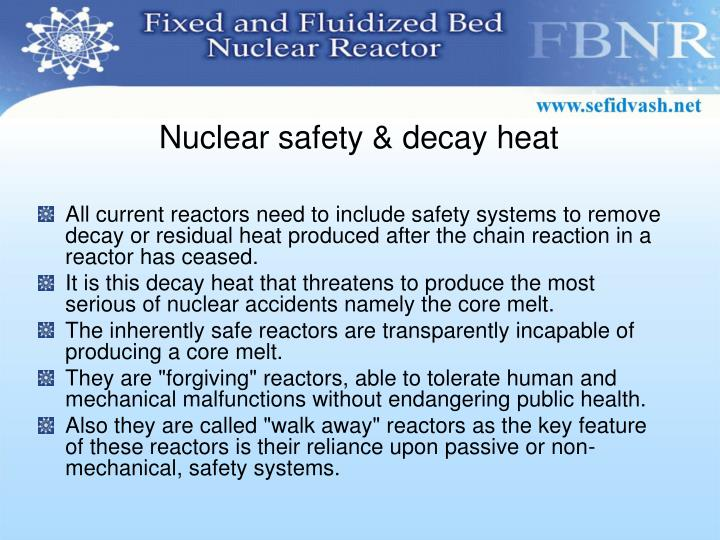 Nuclear safety & decay heat