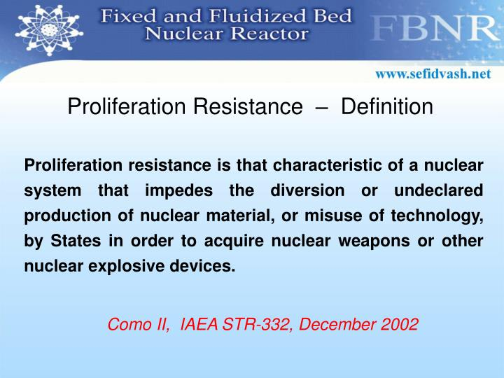 Proliferation Resistance  –  Definition