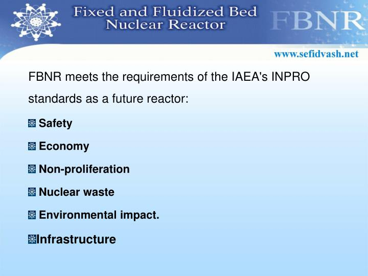 FBNR meets the requirements of the IAEA's INPRO standards as a future reactor: