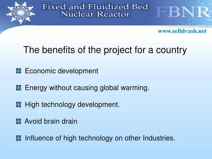 The benefits of the project for a country
