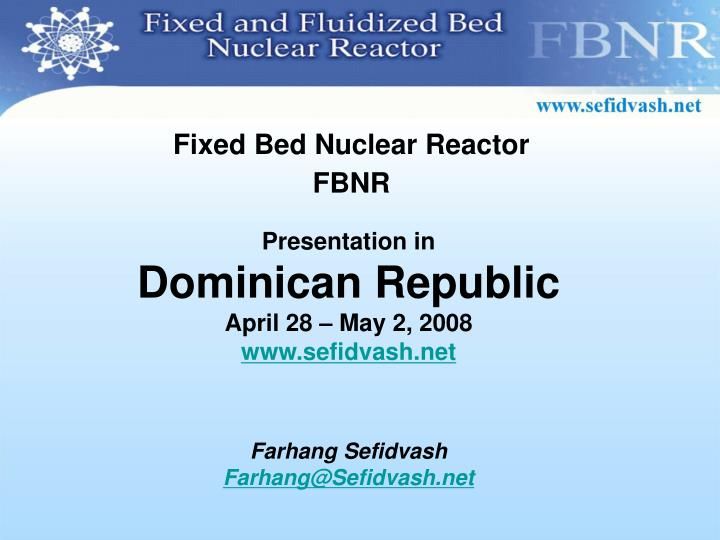 Fixed Bed Nuclear Reactor