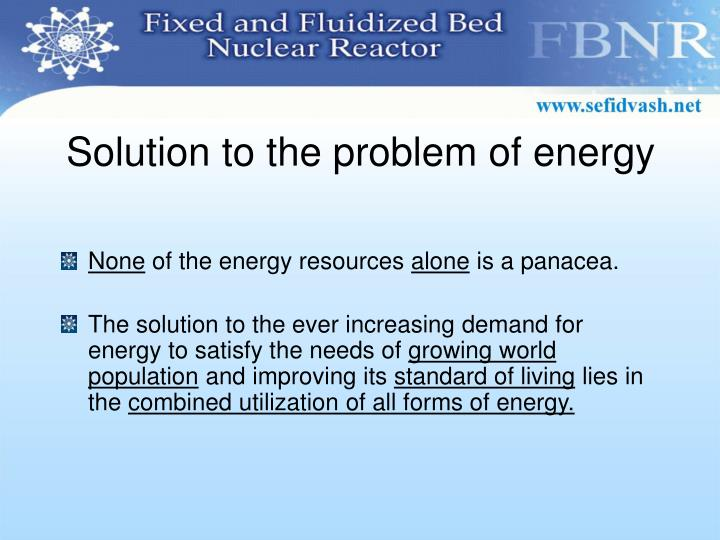 Solution to the problem of energy