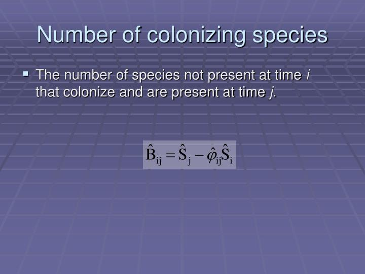 Number of colonizing species