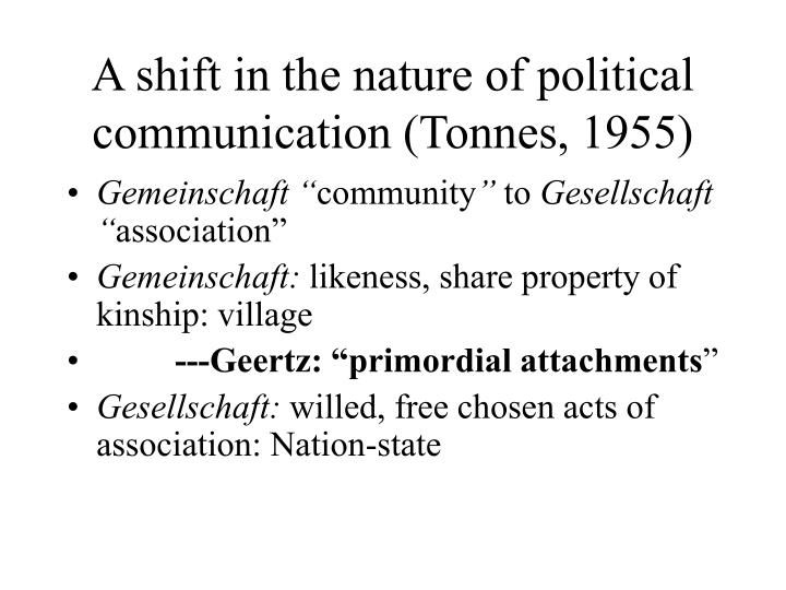 A shift in the nature of political communication (Tonnes, 1955)