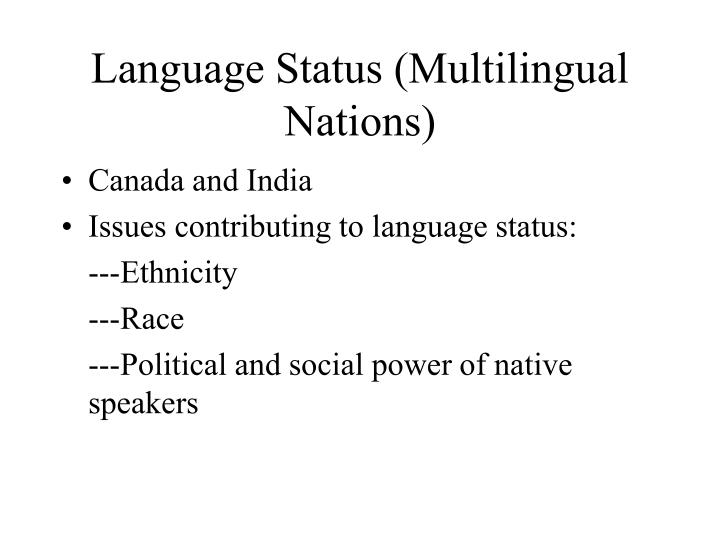 Language Status (Multilingual Nations)