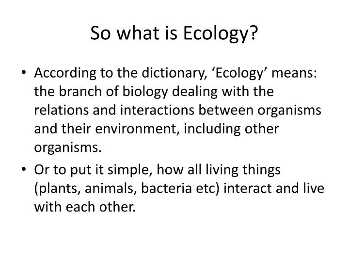 So what is Ecology?