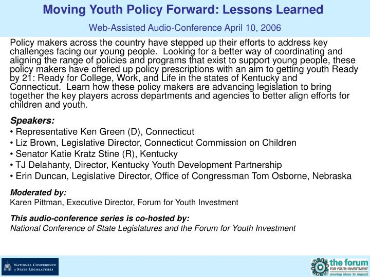 Moving Youth Policy Forward: