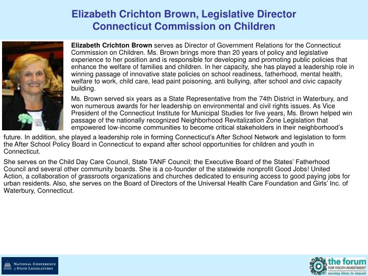 Elizabeth Crichton Brown, Legislative Director