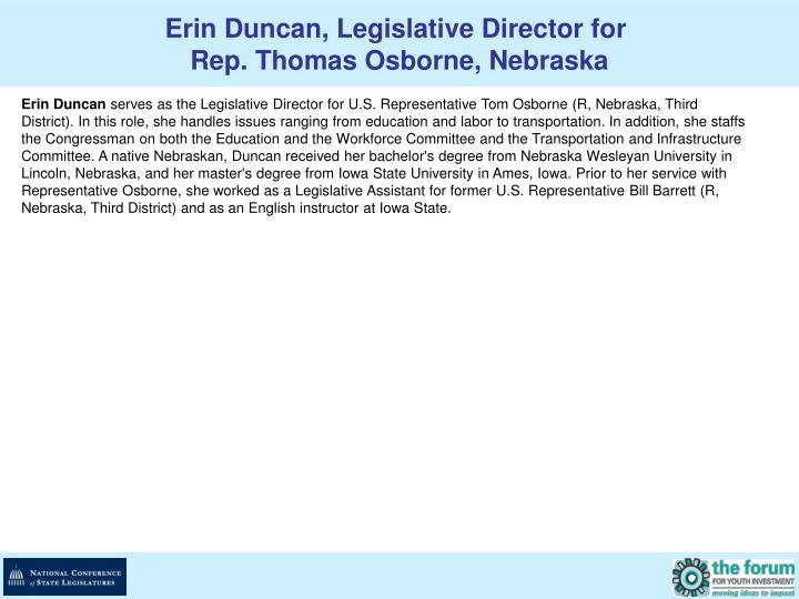 Erin Duncan, Legislative Director for