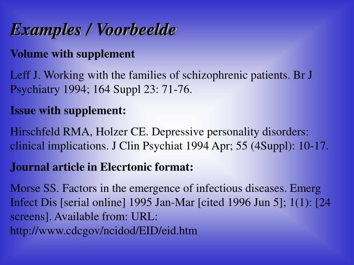 Examples / Voorbeelde