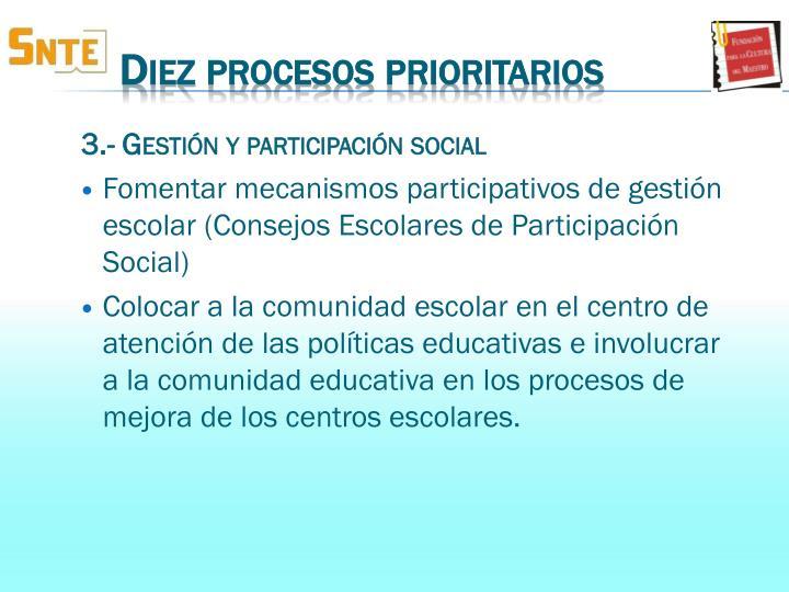 3.- Gestión y participación social