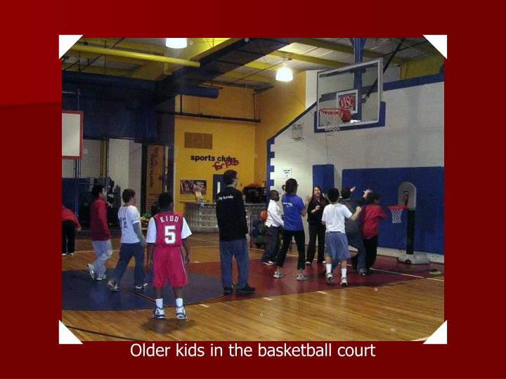 Older kids in the basketball court