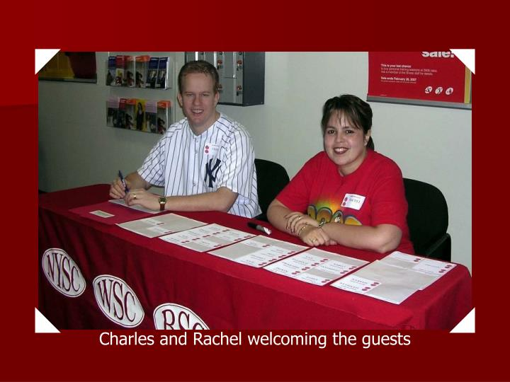 Charles and Rachel welcoming the guests
