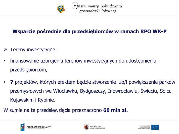 Wsparcie pośrednie dla przedsiębiorców w ramach RPO