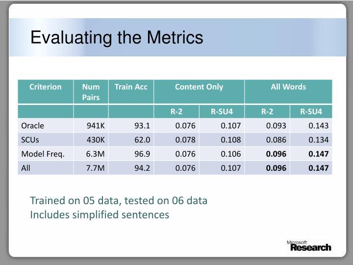 Evaluating the Metrics