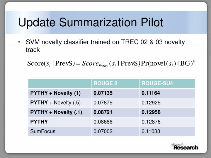 Update Summarization Pilot