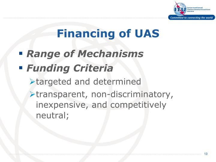 Financing of UAS
