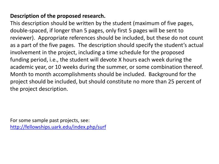 Description of the proposed research.
