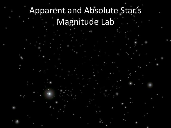 Apparent and Absolute Star's Magnitude Lab