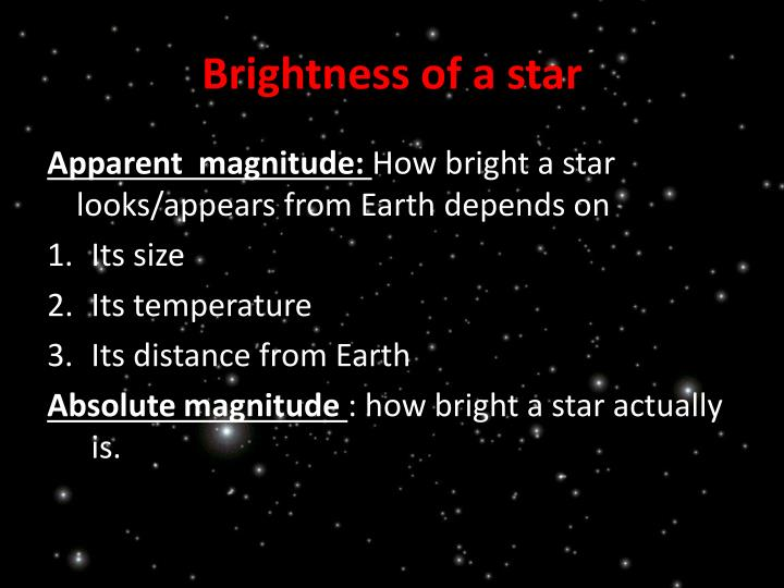 Brightness of a star