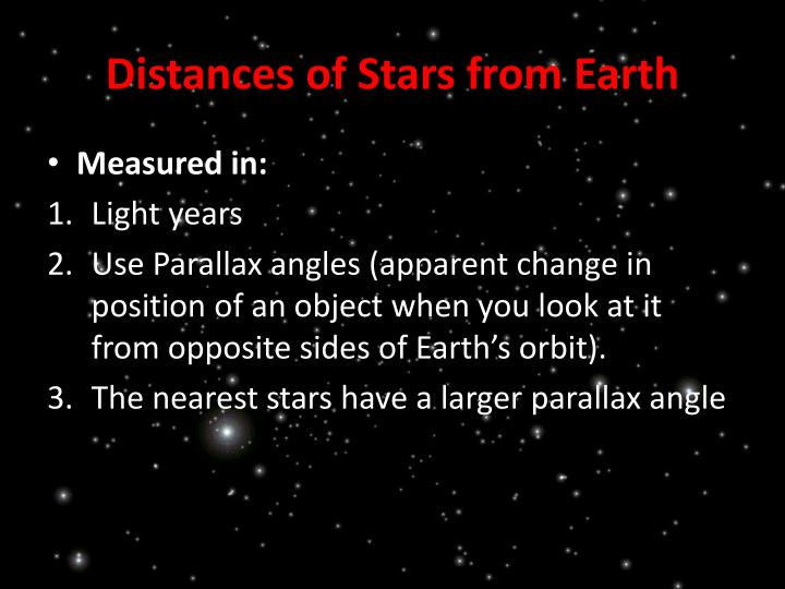 Distances of Stars from Earth