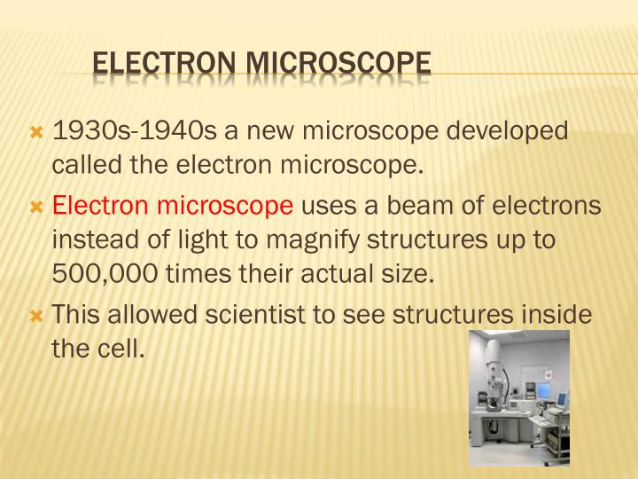 1930s-1940s a new microscope developed called the electron microscope.