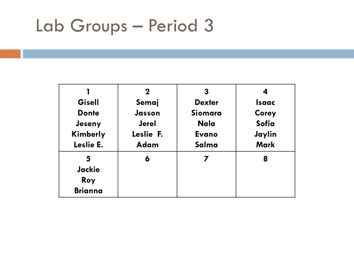 Lab Groups – Period 3