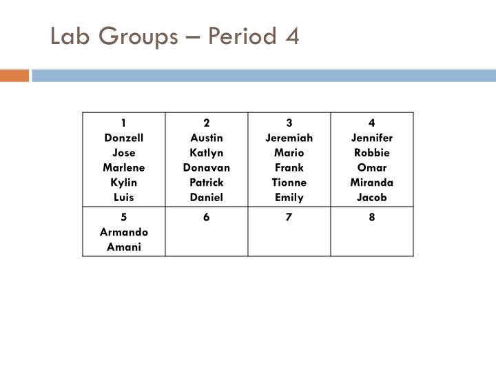 Lab Groups – Period 4