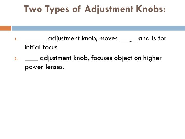 Two Types of Adjustment Knobs: