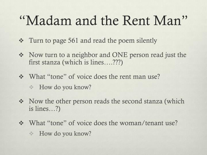 """Madam and the Rent Man"""