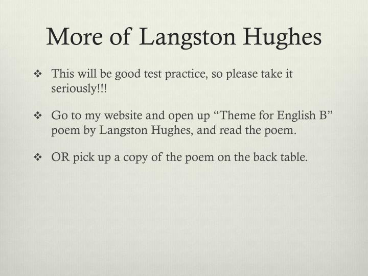 More of Langston Hughes