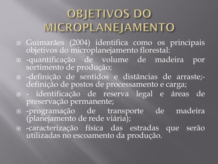 OBJETIVOS DO MICROPLANEJAMENTO