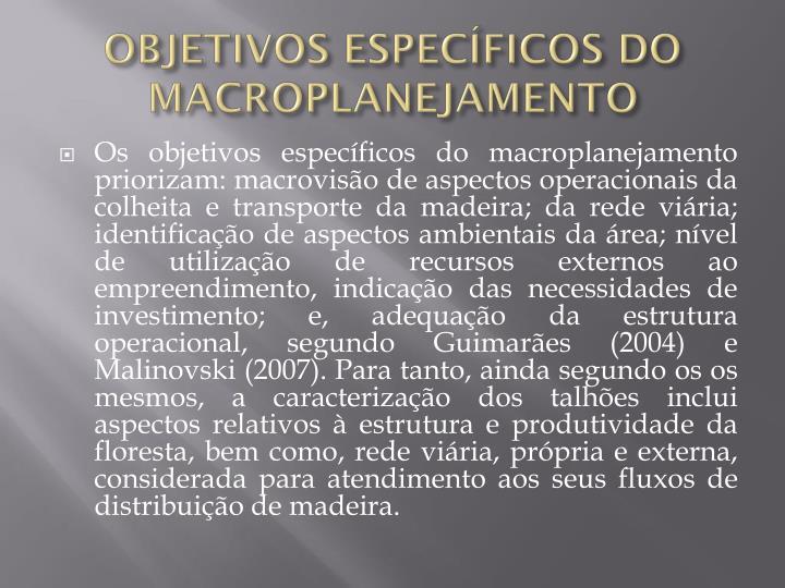OBJETIVOS ESPECÍFICOS DO MACROPLANEJAMENTO