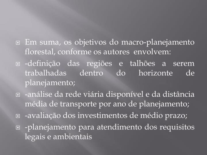 Em suma, os objetivos do macro-planejamento florestal, conforme os autores envolvem: