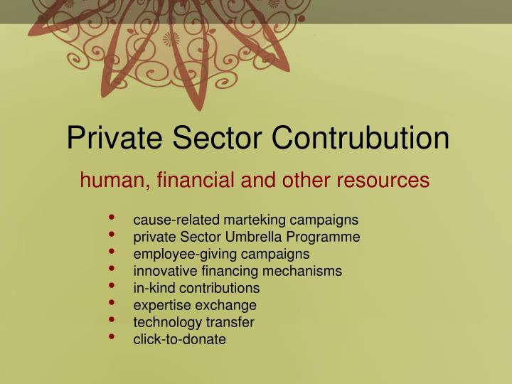 Private Sector Contrubution