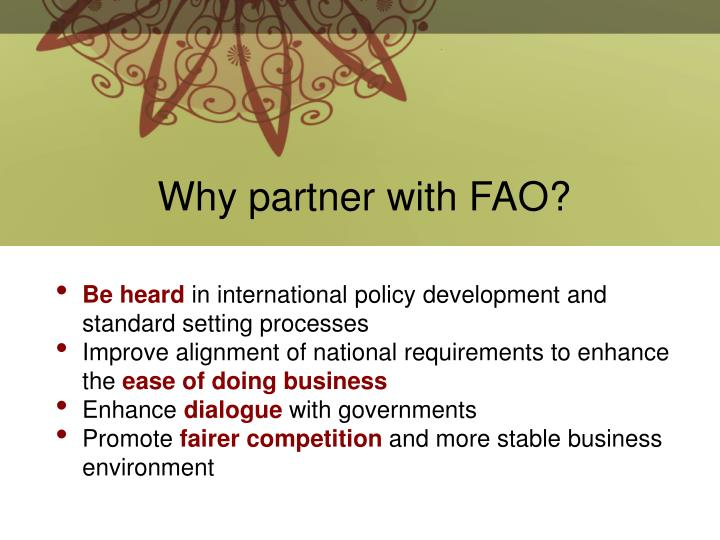Why partner with FAO?
