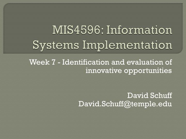 MIS4596: Information Systems Implementation