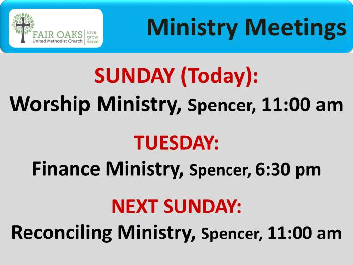 Ministry Meetings