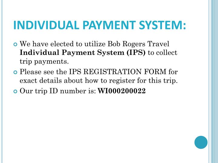 INDIVIDUAL PAYMENT SYSTEM: