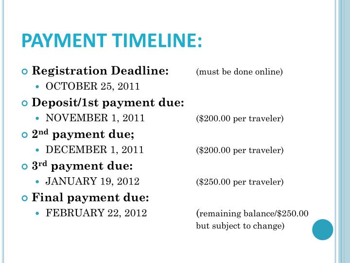 PAYMENT TIMELINE: