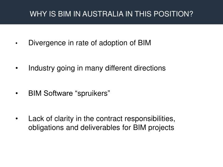 WHY IS BIM IN AUSTRALIA IN THIS POSITION?