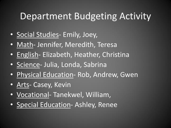 Department budgeting activity