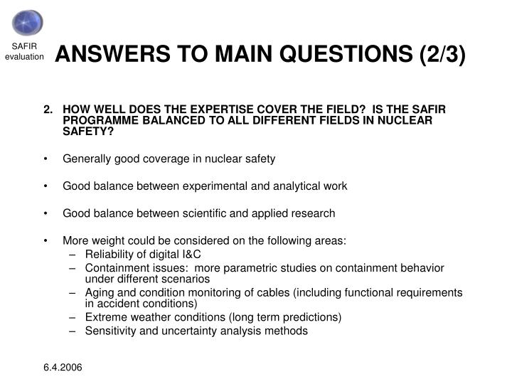ANSWERS TO MAIN QUESTIONS (2/3)